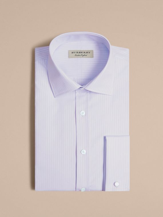 Modern Fit Double Cuff Striped Cotton Shirt