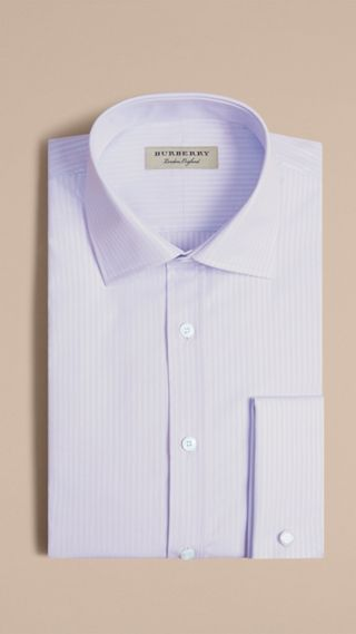 Modern Fit Double Cuff Striped Cotton Shirt