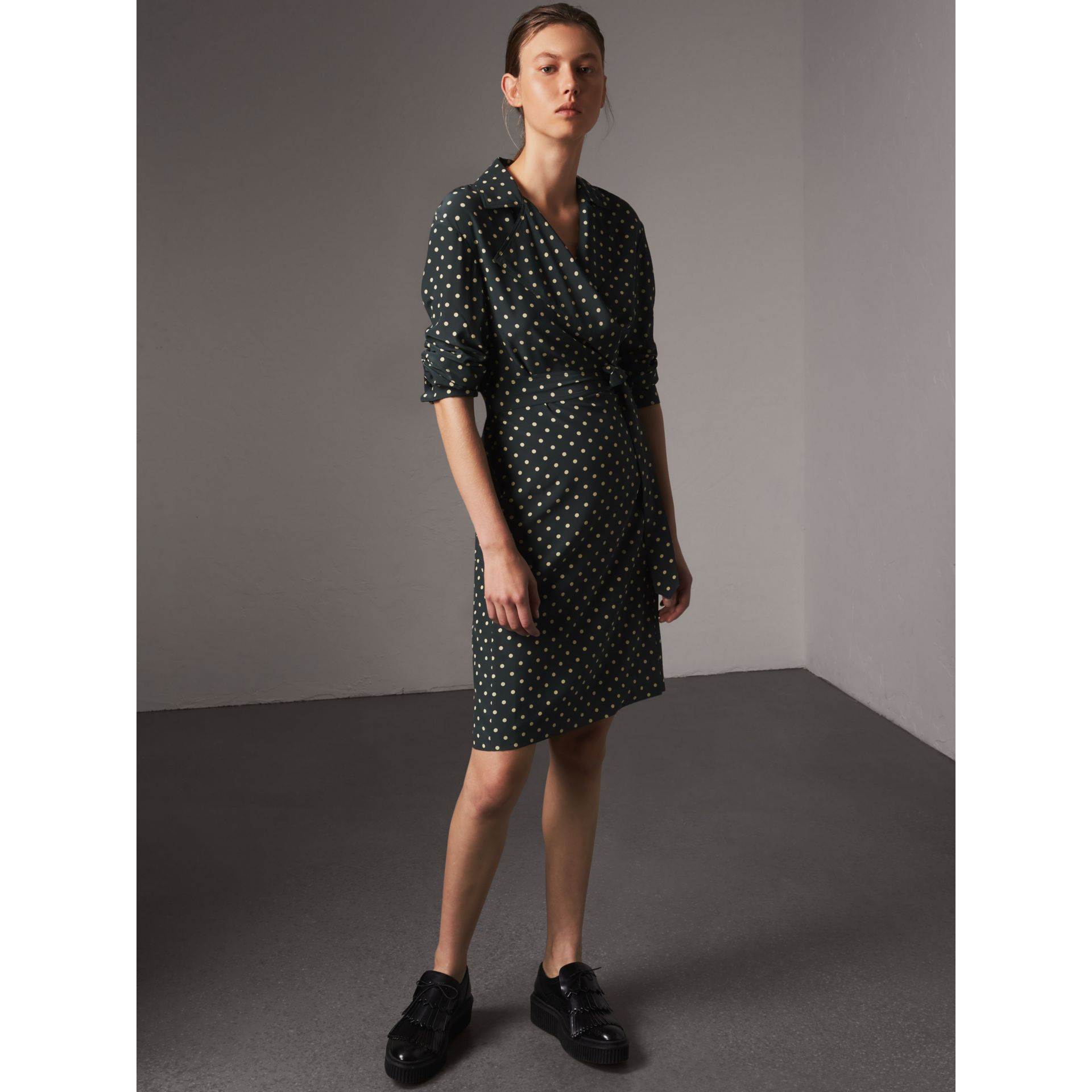 Polka-dot Silk Wrap Dress in Racing Green - Women | Burberry - gallery image 1