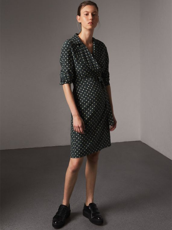 Polka-dot Silk Wrap Dress in Racing Green