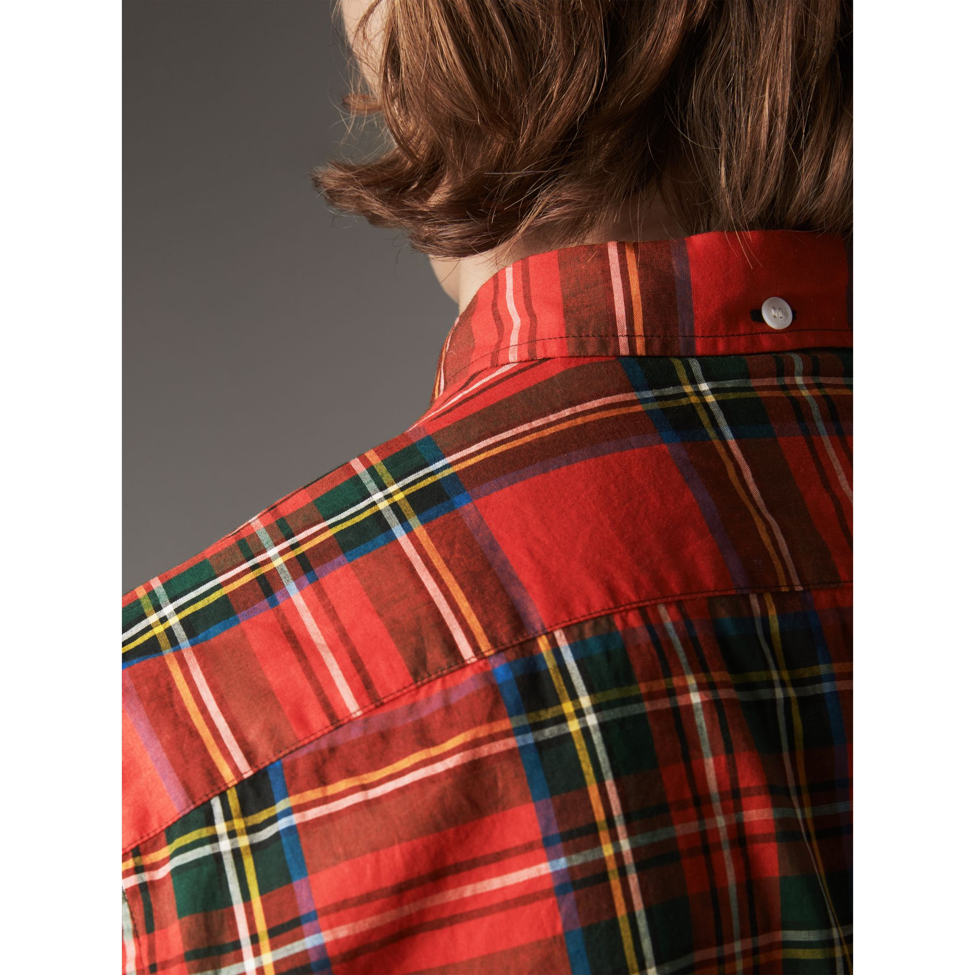 Tartan Cotton Button-down Collar Shirt in Bright Red - Men | Burberry United Kingdom - gallery image 2