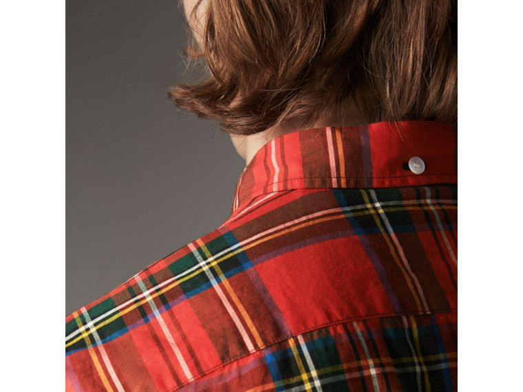 Tartan Cotton Button-down Collar Shirt in Bright Red - Men | Burberry United States - cell image 1
