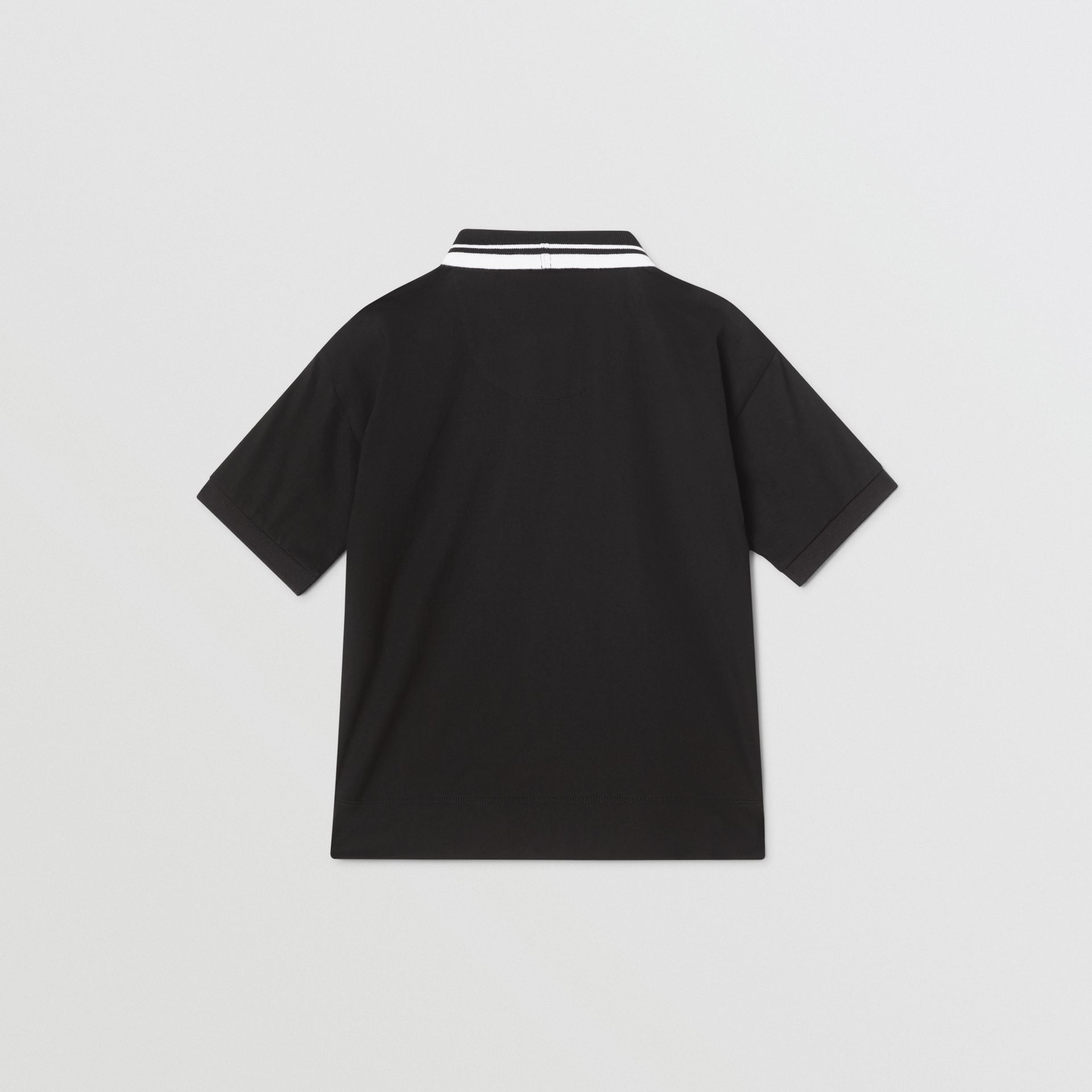 Logo Tape Cotton Polo Shirt in Black | Burberry - gallery image 3