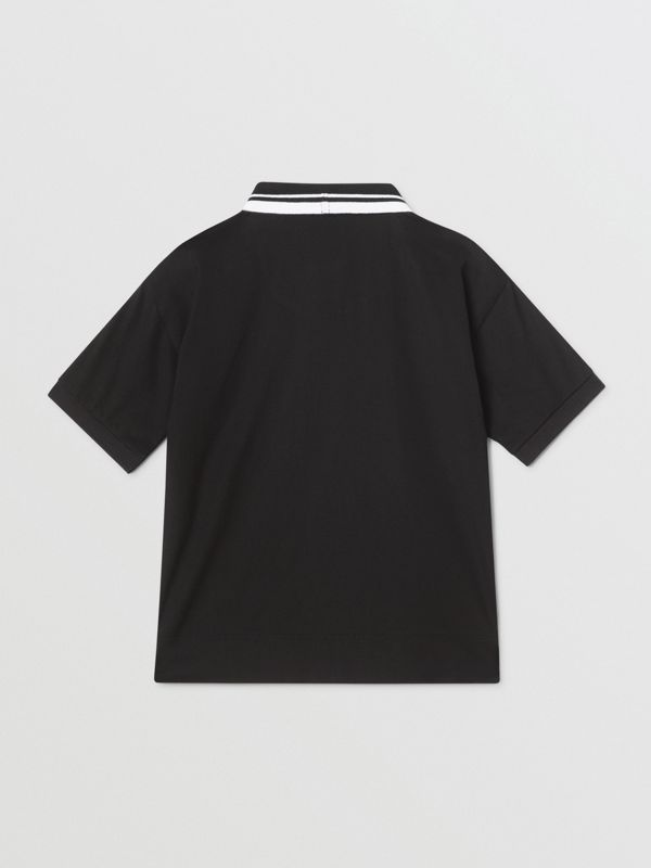 Logo Tape Cotton Polo Shirt in Black | Burberry - cell image 3