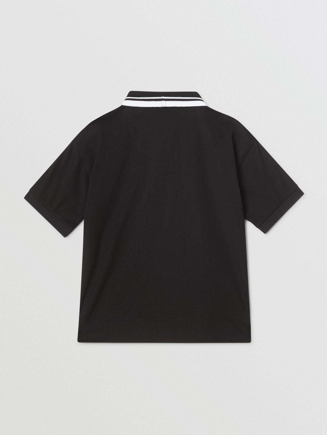 Logo Tape Cotton Polo Shirt in Black