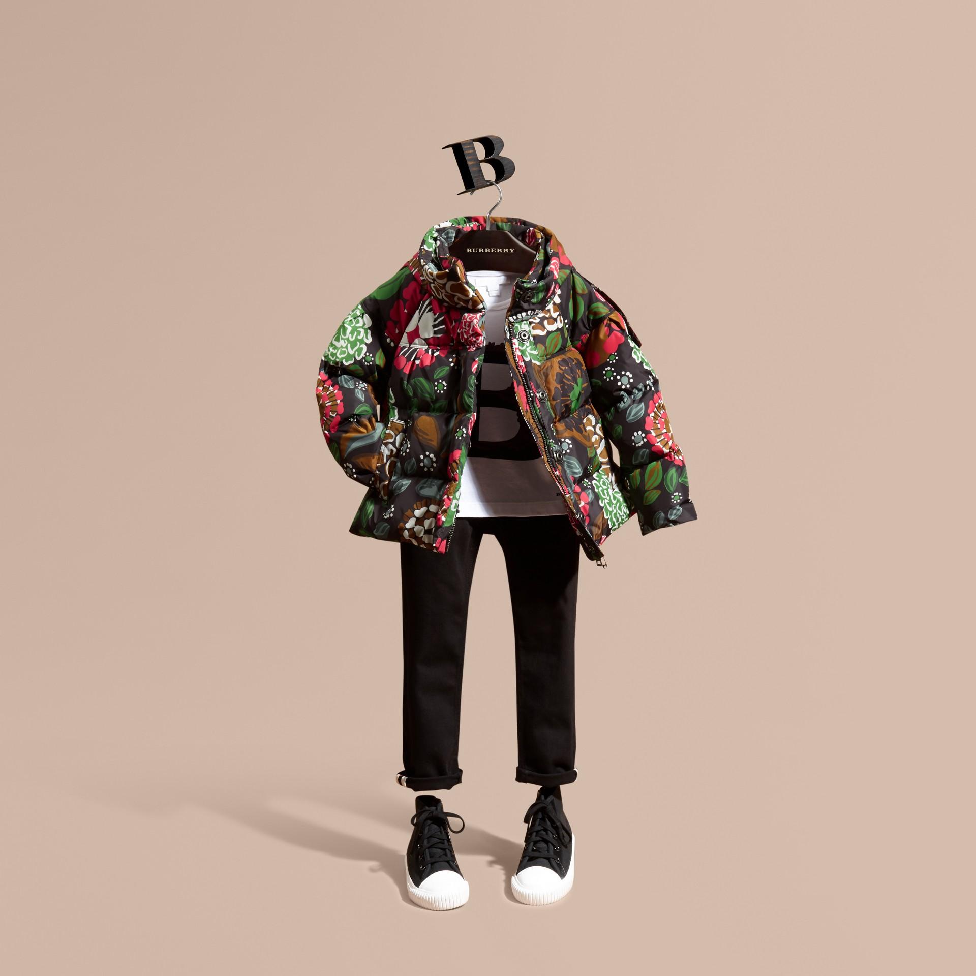 Verde salvia Piumino con stampa floreale e cappuccio packaway - immagine della galleria 1