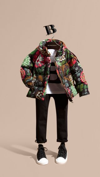 Floral Print Puffer Coat with Packaway Hood