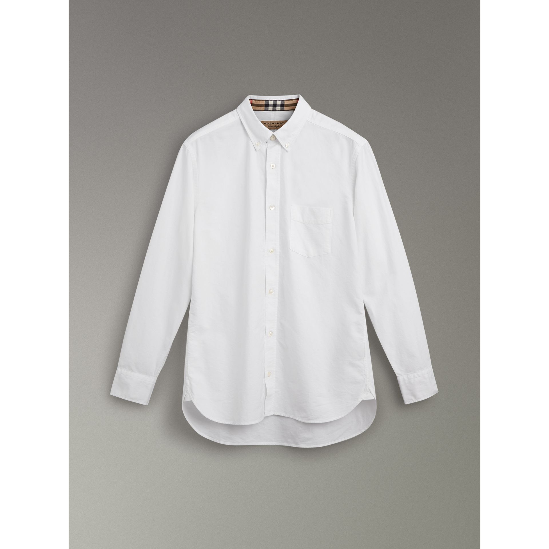 Check Cuff Cotton Oxford Shirt in White - Men | Burberry - gallery image 3