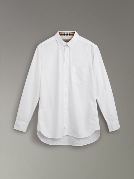 Check Cuff Cotton Oxford Shirt in White - Men | Burberry United Kingdom - cell image 3