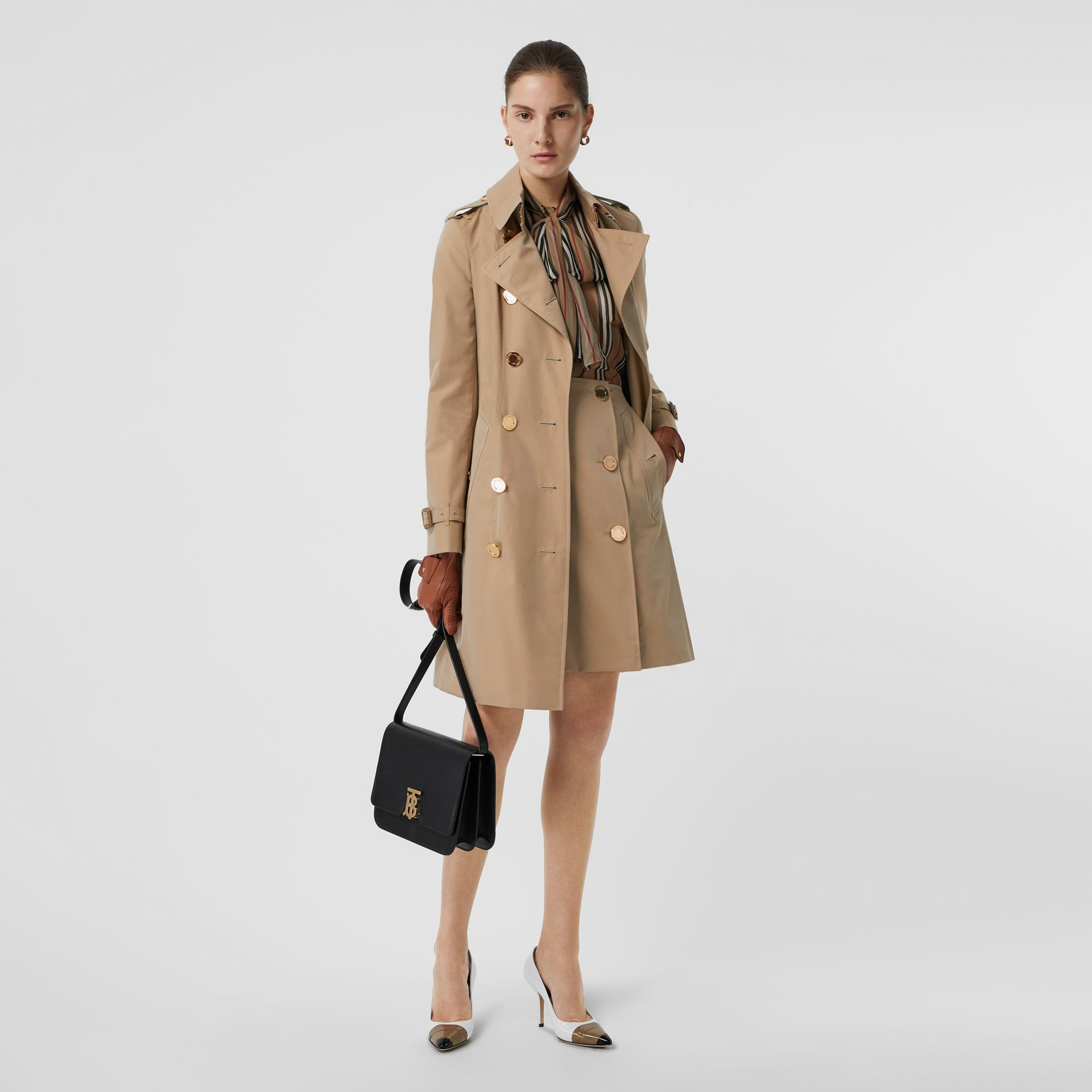 Cotton Gabardine Trench Skirt in Honey - Women | Burberry - gallery image 0