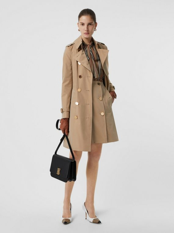 Cotton Gabardine Trench Skirt in Honey