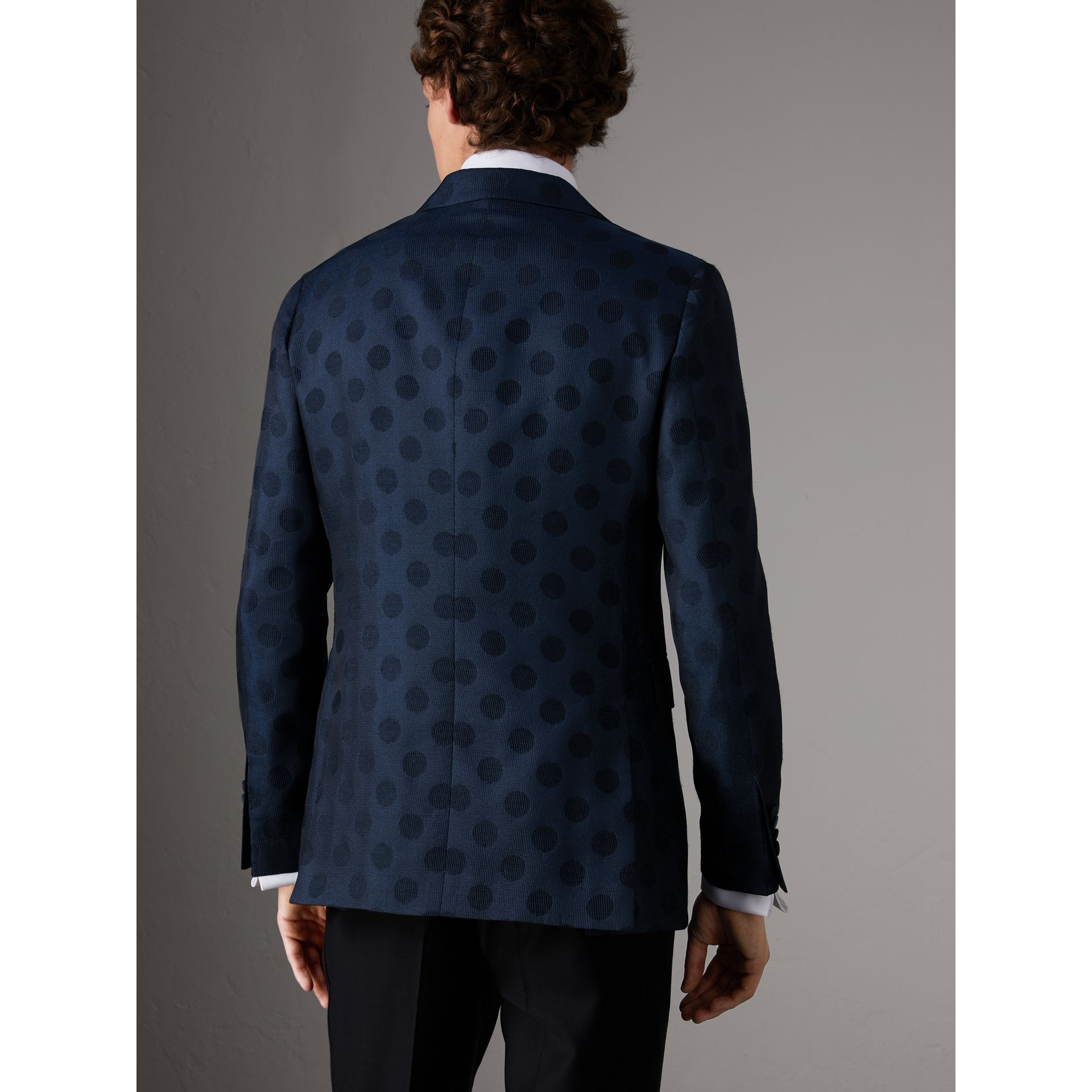 Soho Fit Spot Wool Silk Cotton Evening Jacket in Midnight Blue - Men | Burberry - gallery image 2