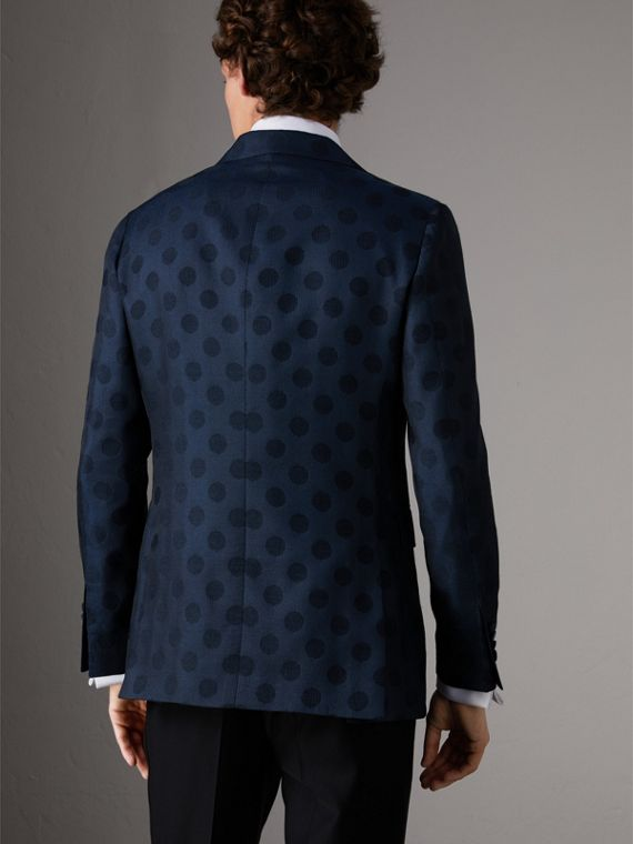 Soho Fit Spot Wool Silk Cotton Evening Jacket in Midnight Blue - Men | Burberry - cell image 2