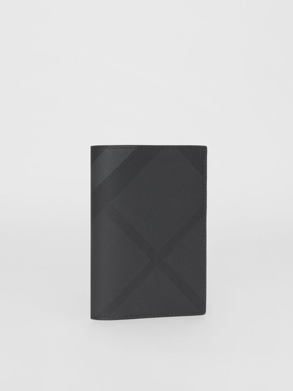 London Check and Leather Passport Holder in Dark Charcoal - Men | Burberry - cell image 3