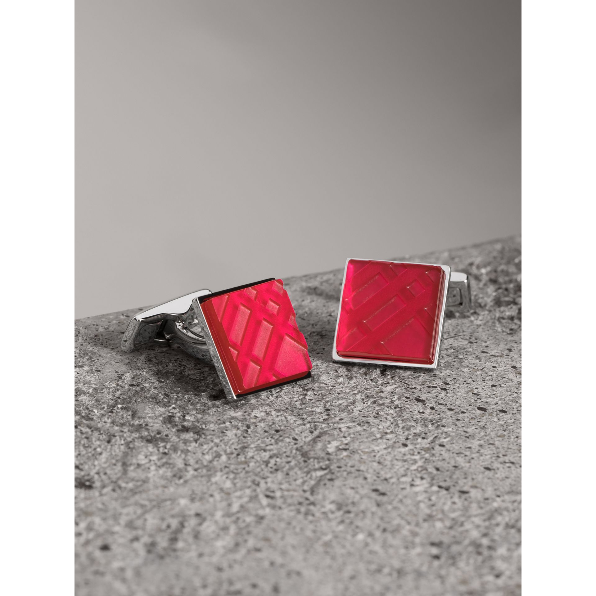 Check-engraved Square Cufflinks in Bright Pink - Men | Burberry - gallery image 0