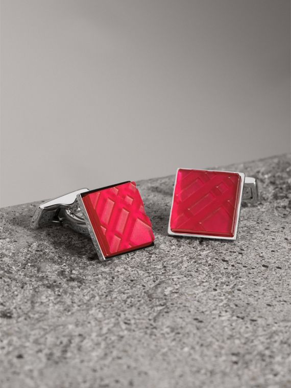 Check-engraved Square Cufflinks in Bright Pink