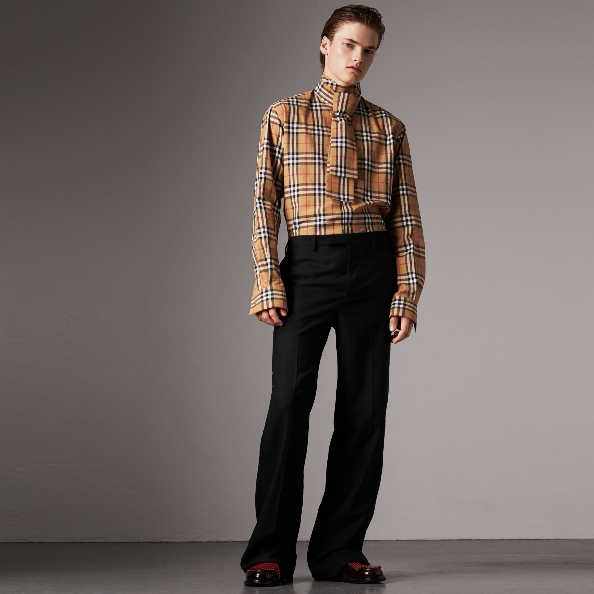 Vintage Check Cotton Tie-neck Riding Shirt in Antique Yellow - Men | Burberry - gallery image 0
