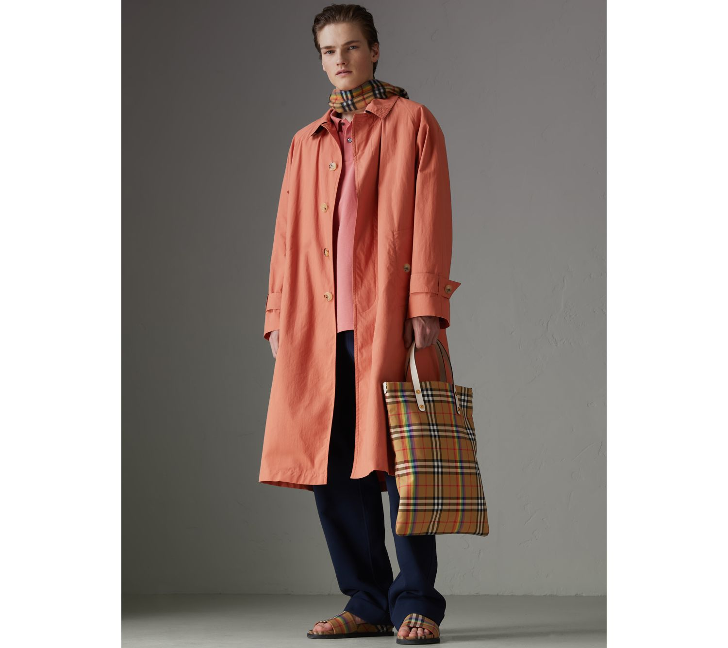 Reissued Cotton Car Coat with Detachable Warmer in Coral