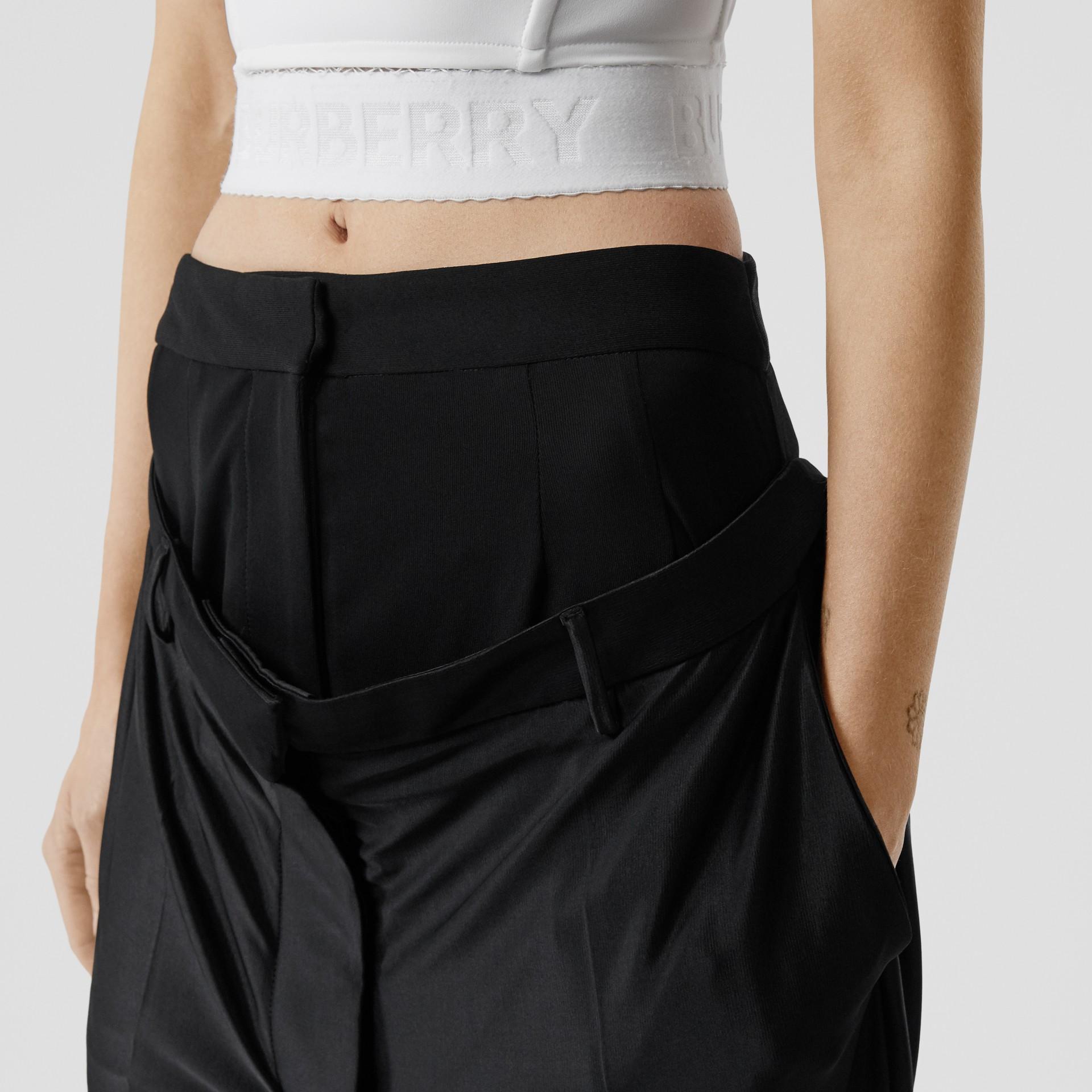 Calças de malha com cintura dupla (Preto) - Mulheres | Burberry - galeria de imagens 1