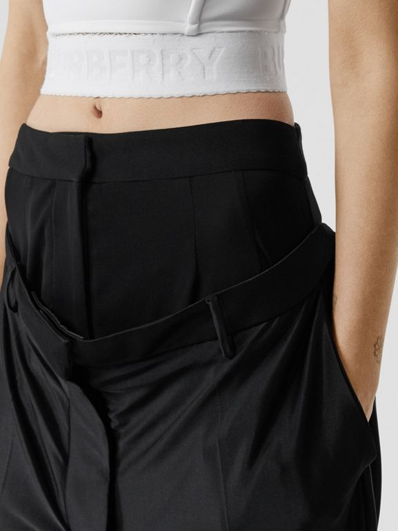 Double-waist Jersey Trousers in Black - Women | Burberry United Kingdom - cell image 1