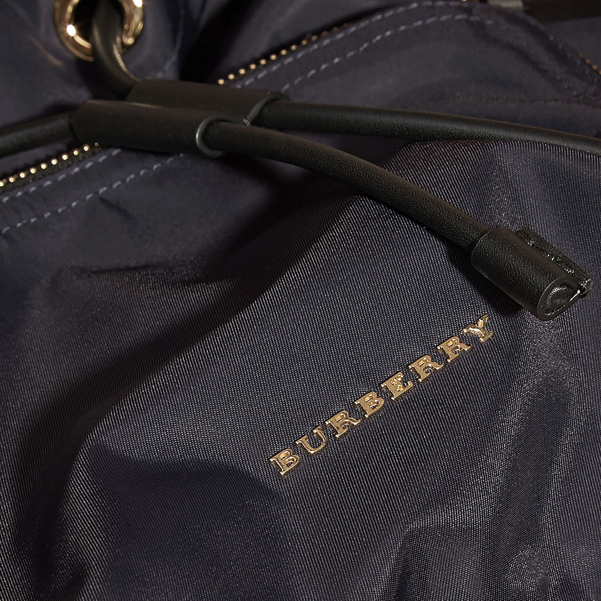 The Large Rucksack in Technical Nylon and Snakeskin in Ink Blue/mineral Blue - gallery image 5