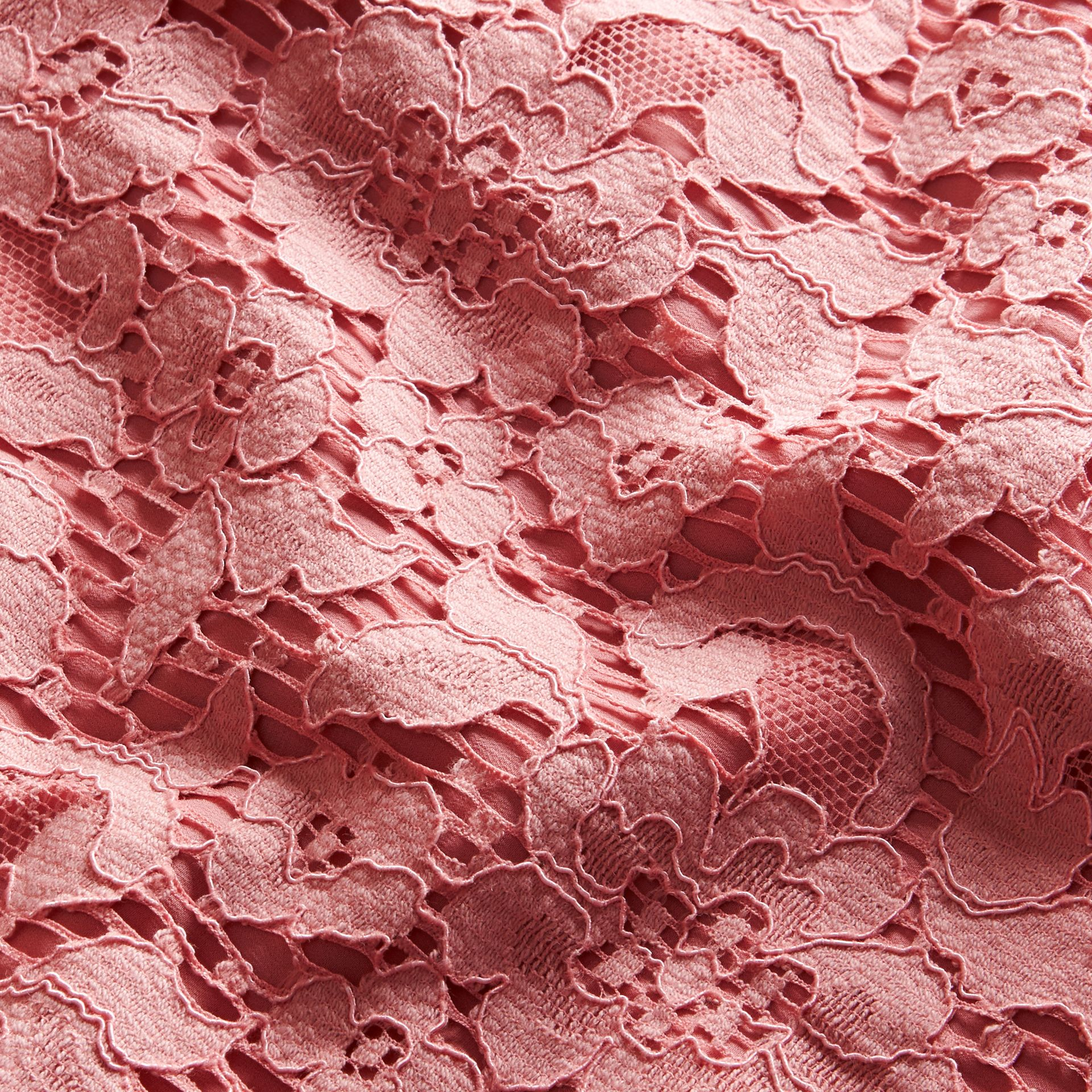 Puff-sleeved Floral Lace Shift Dress Antique Rose - gallery image 2
