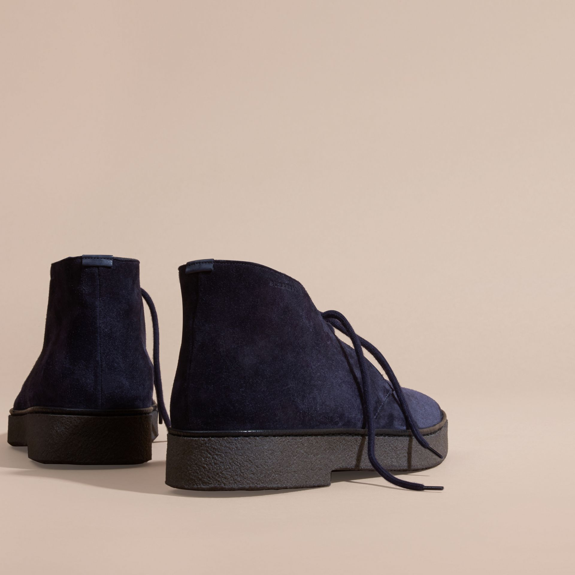 Crepe Sole Suede Desert Boots in Navy - gallery image 4
