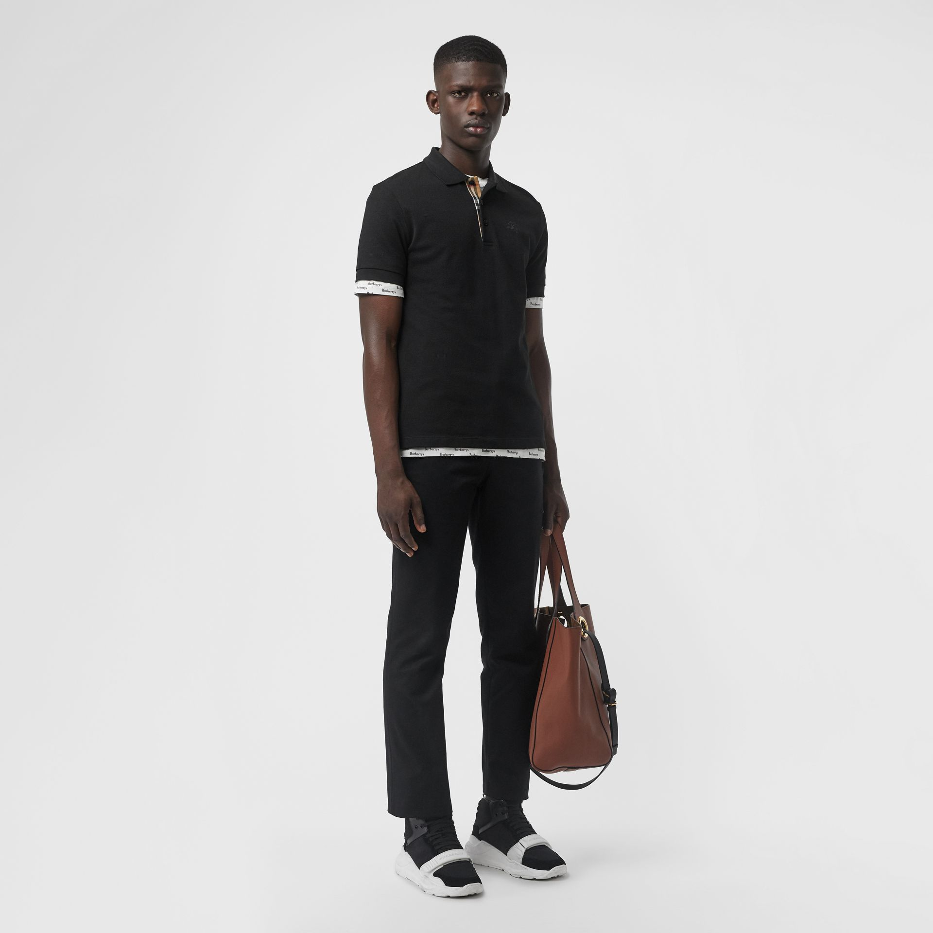 Check Placket Cotton Polo Shirt in Black - Men | Burberry Hong Kong - gallery image 4