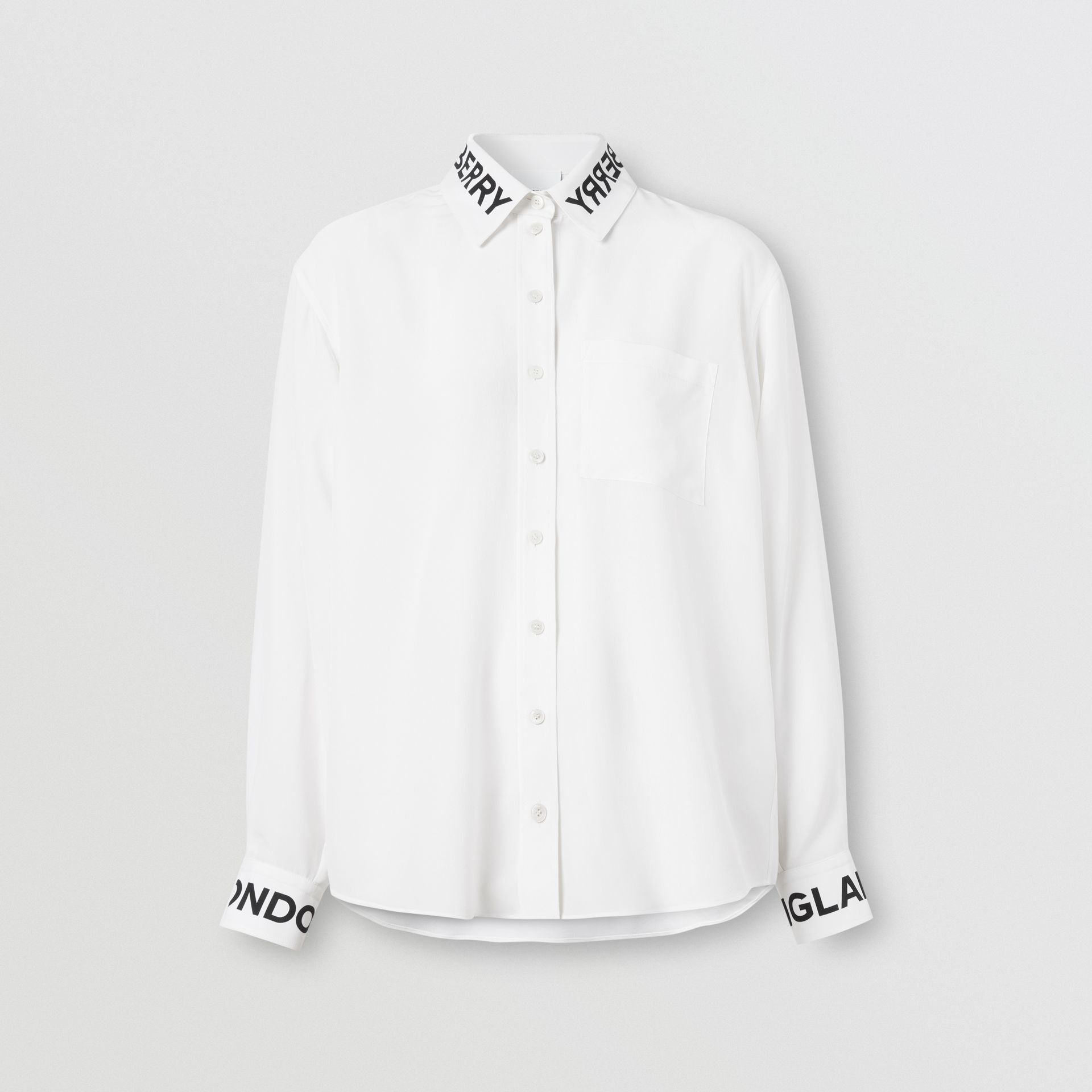 Logo Print Silk Crepe De Chine Shirt in Optic White - Women | Burberry United Kingdom - gallery image 3
