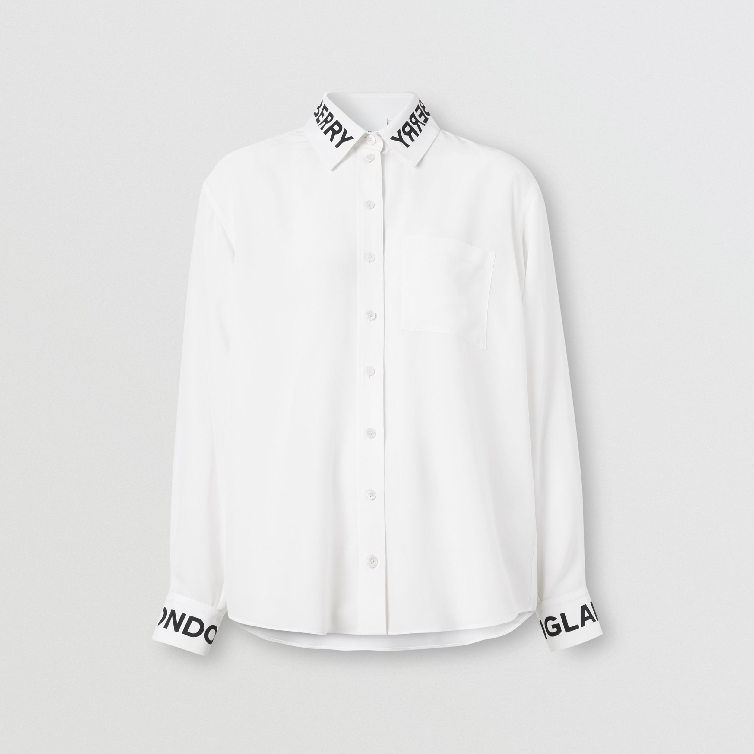 Logo Print Silk Crepe De Chine Shirt in Optic White - Women | Burberry - 4