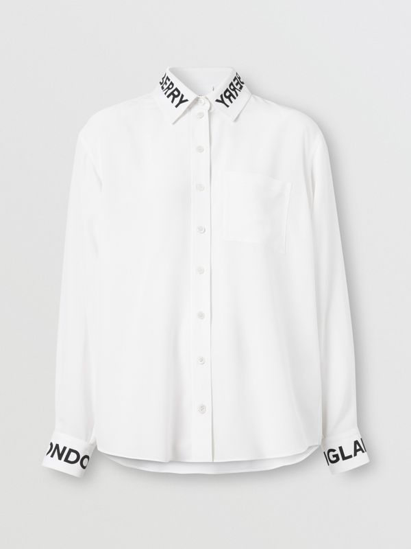 Logo Print Silk Crepe De Chine Shirt in Optic White - Women | Burberry Hong Kong S.A.R - cell image 3