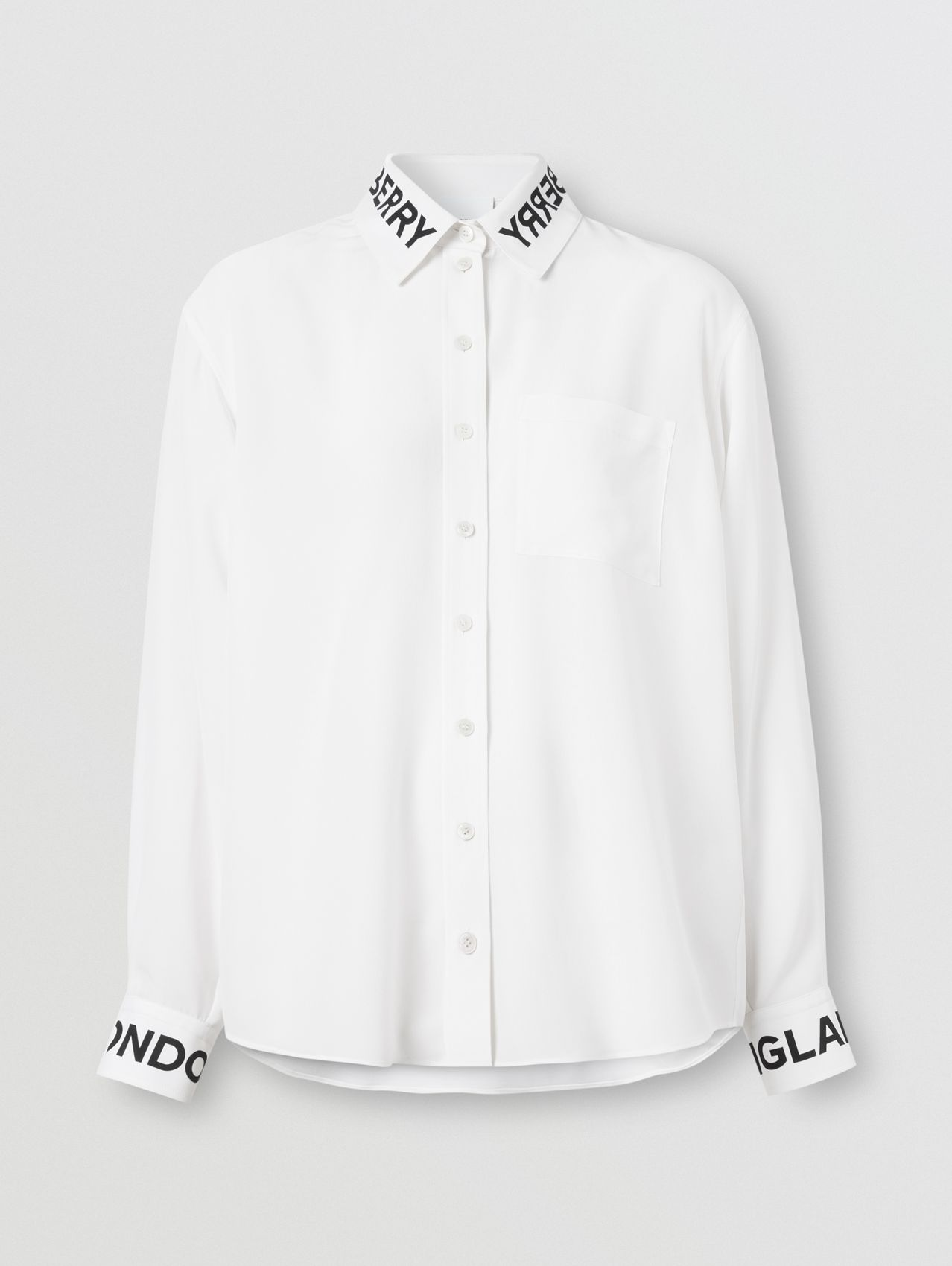 Logo Print Silk Crepe De Chine Shirt in Optic White
