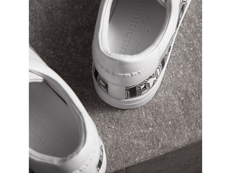 Doodle Print Leather Trainers in Optic White - Men | Burberry - cell image 1