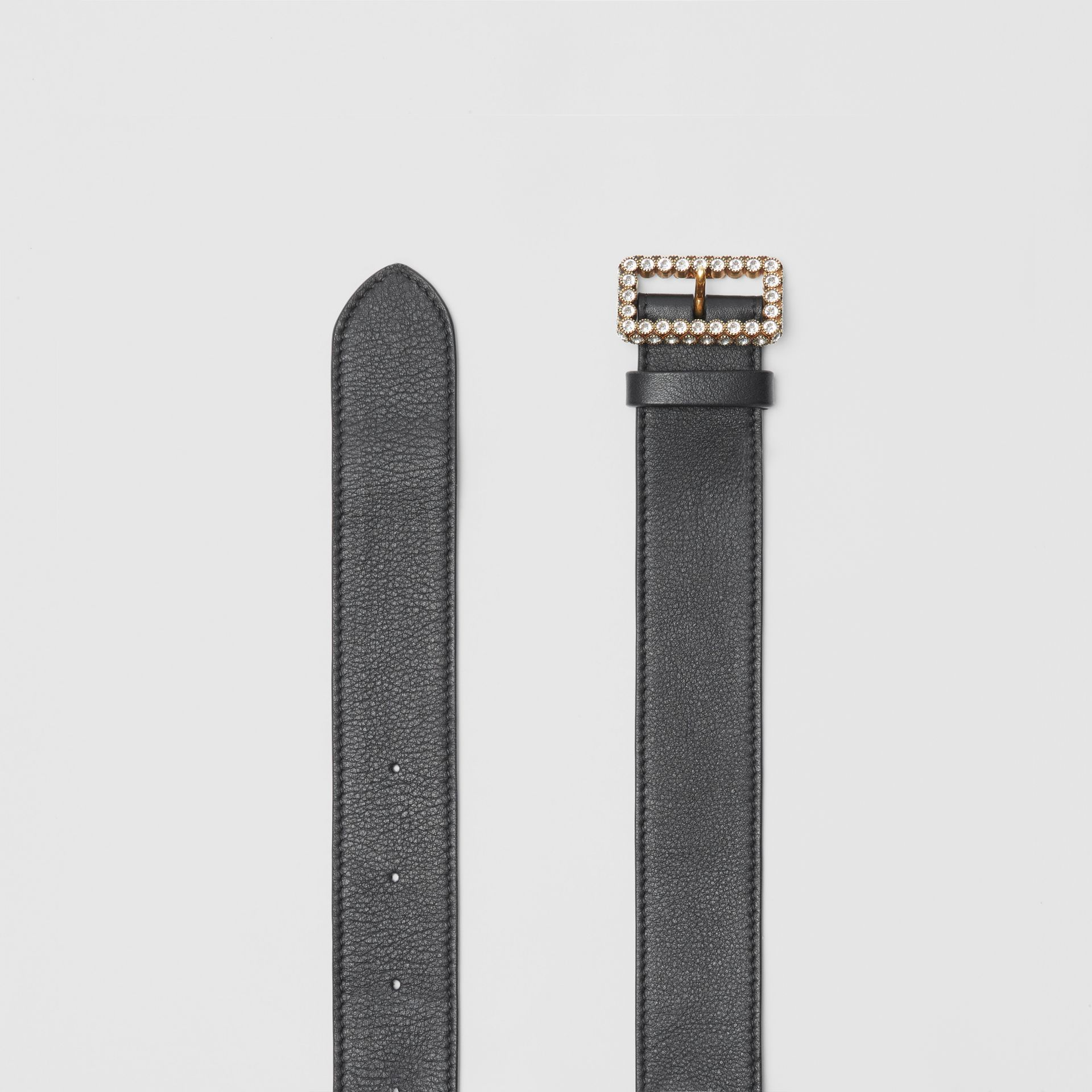 Leather Belt with Crystal Buckle in Black - Women | Burberry United Kingdom - gallery image 5
