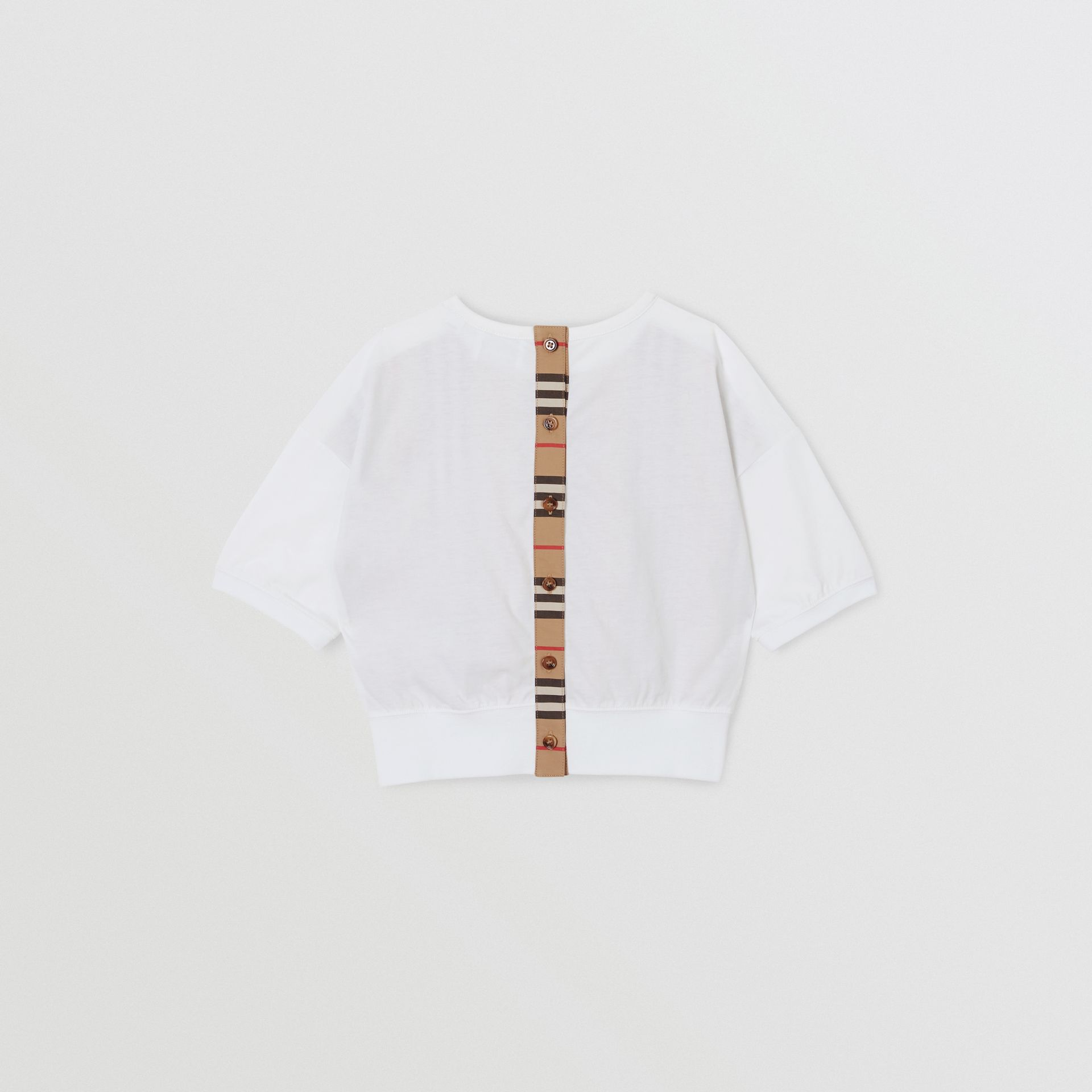 Icon Stripe Panel Cotton T-shirt in White | Burberry United Kingdom - gallery image 3