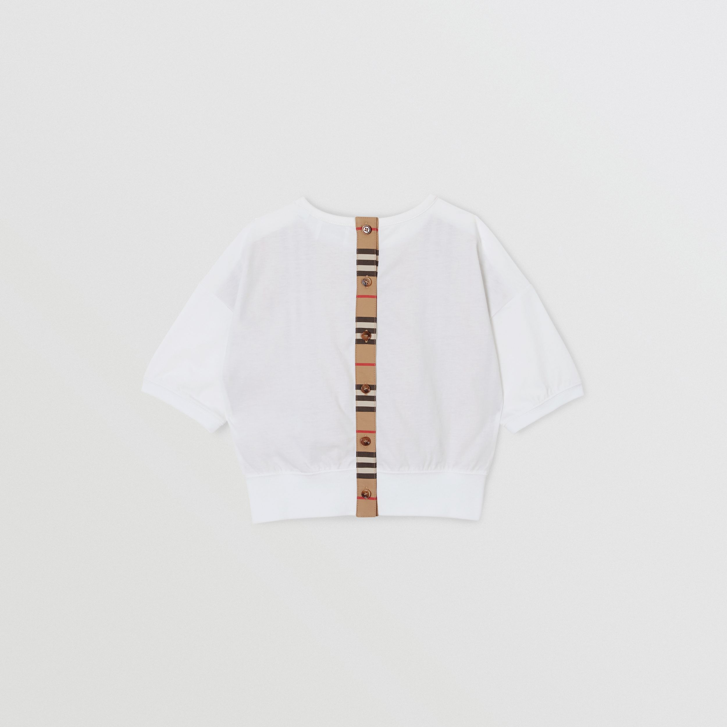 Icon Stripe Panel Cotton T-shirt in White | Burberry Australia - 4