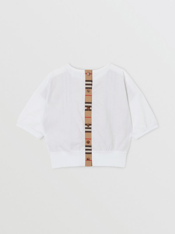 Icon Stripe Panel Cotton T-shirt in White | Burberry United Kingdom - cell image 3