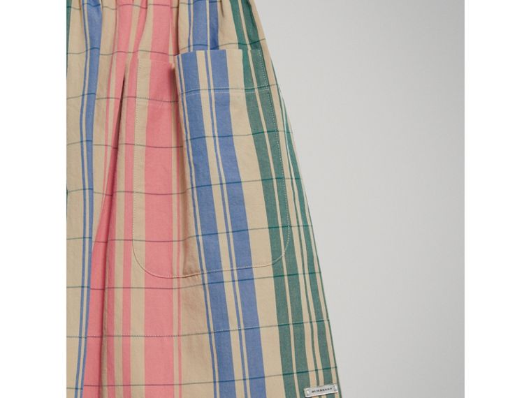 Check Gathered Cotton Skirt in Bright Coral Pink - Girl | Burberry - cell image 4
