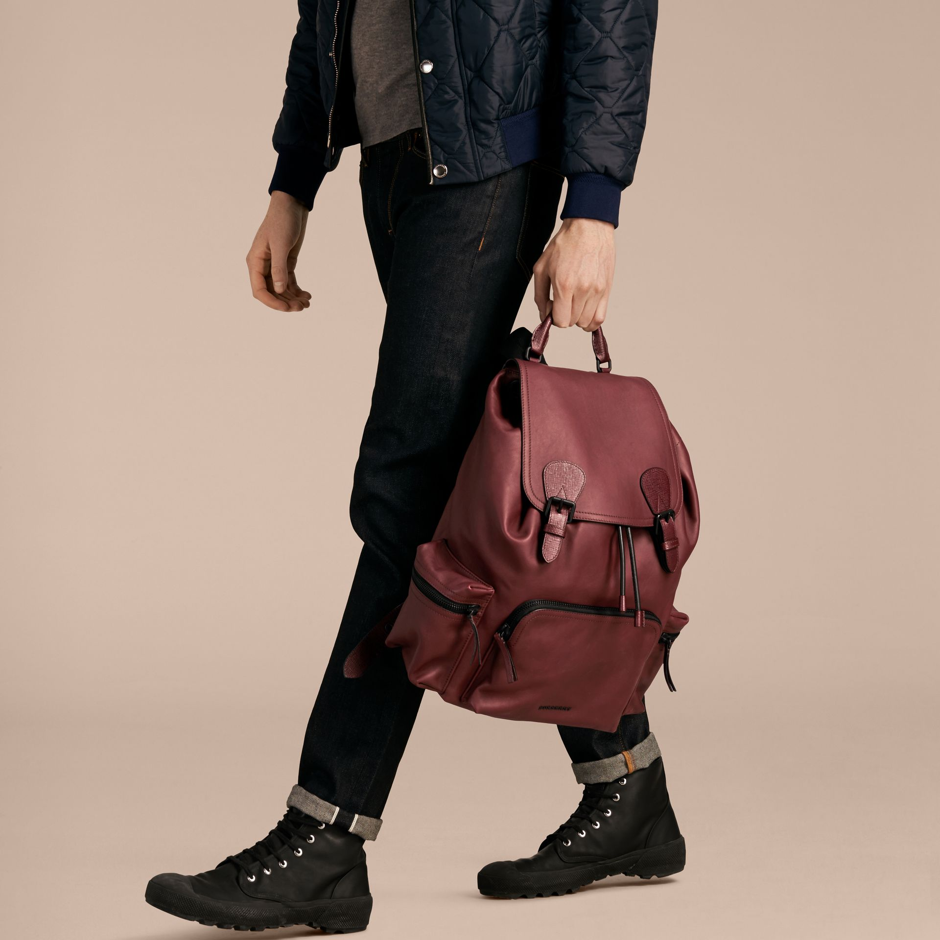 The Large Rucksack in Water-repellent Leather in Burgundy Red - gallery image 4