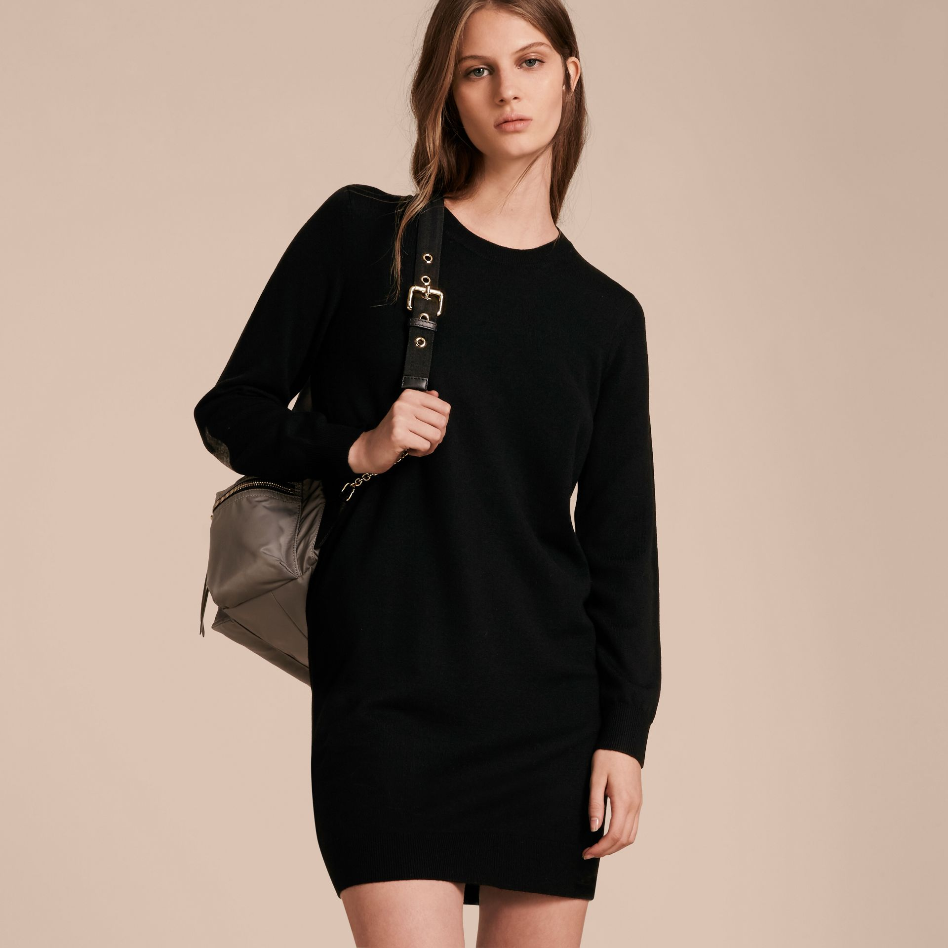 Check Elbow Detail Merino Wool Sweater Dress Black - gallery image 6