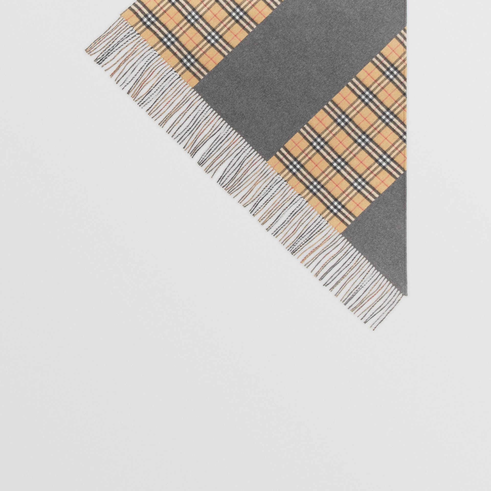 The Burberry Bandana in Vintage Check Cashmere in Pewter Grey | Burberry Australia - gallery image 4