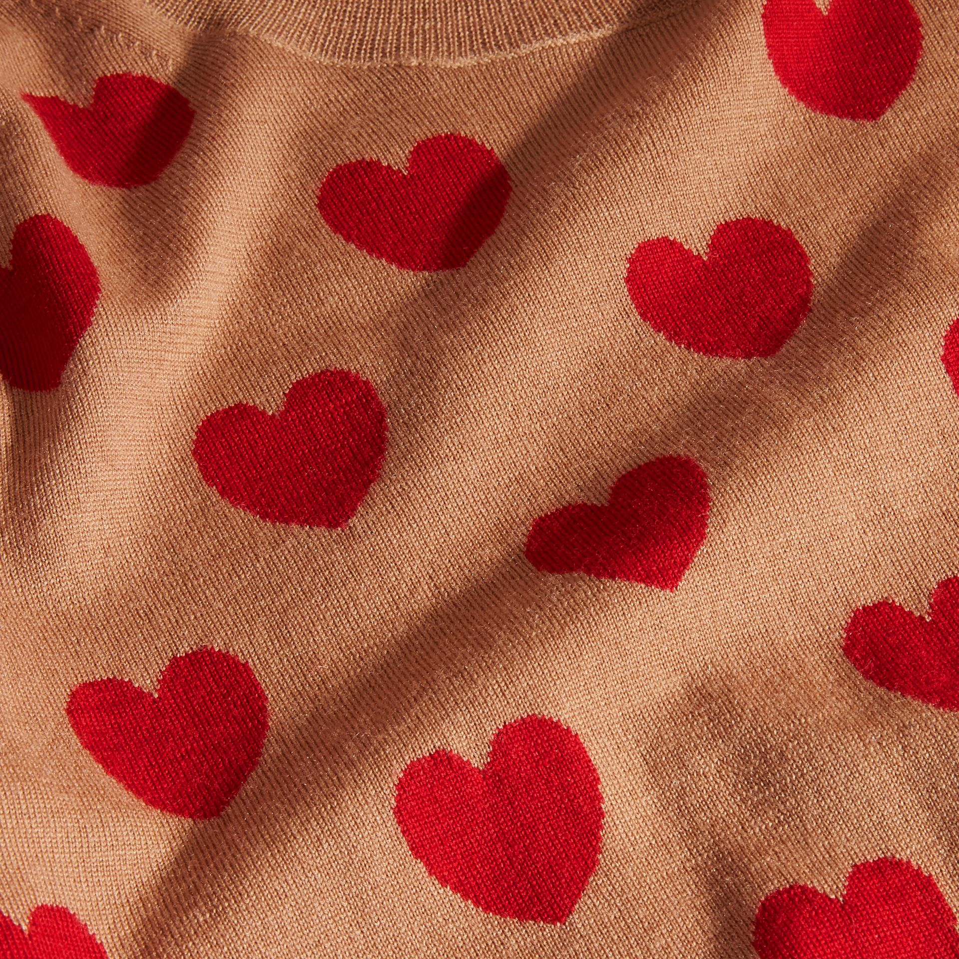 Heart Intarsia Merino Wool Sweater in Camel - Women | Burberry - gallery image 2