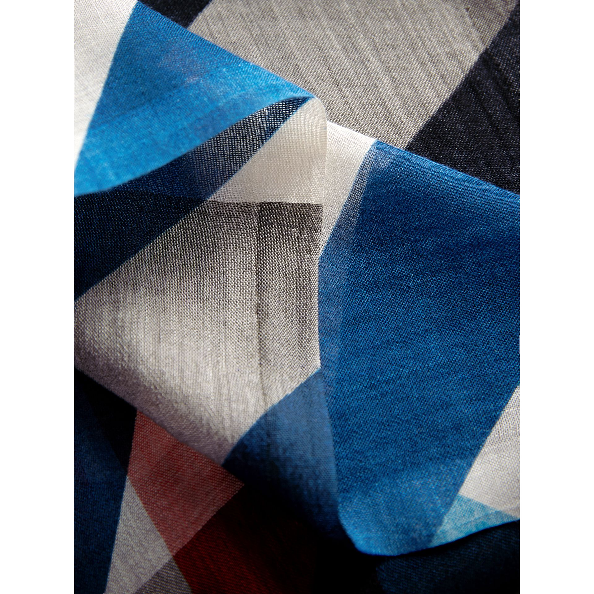 Check and Stripe Modal Cashmere Silk Scarf in Indigo/stone - Women | Burberry - gallery image 2