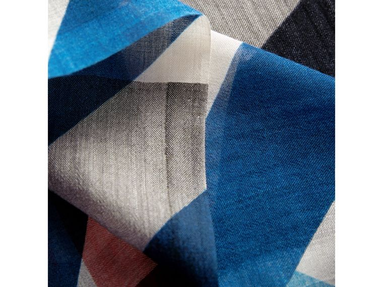 Check and Stripe Modal Cashmere Silk Scarf in Indigo/stone - Women | Burberry - cell image 1