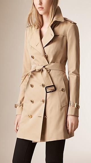 Leather Detail Cotton Gabardine Trench Coat