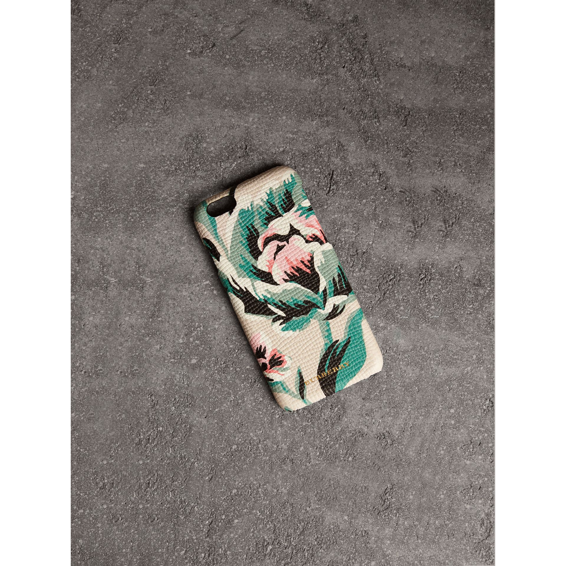 Peony Rose Print Leather iPhone 6 Case in Natural / Emerald Green | Burberry - gallery image 1