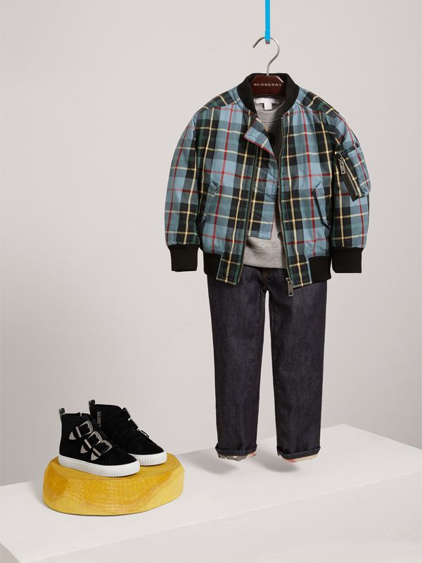 Quilted Tartan Cotton Gabardine Bomber Jacket in Cyan Blue | Burberry United Kingdom - cell image 2