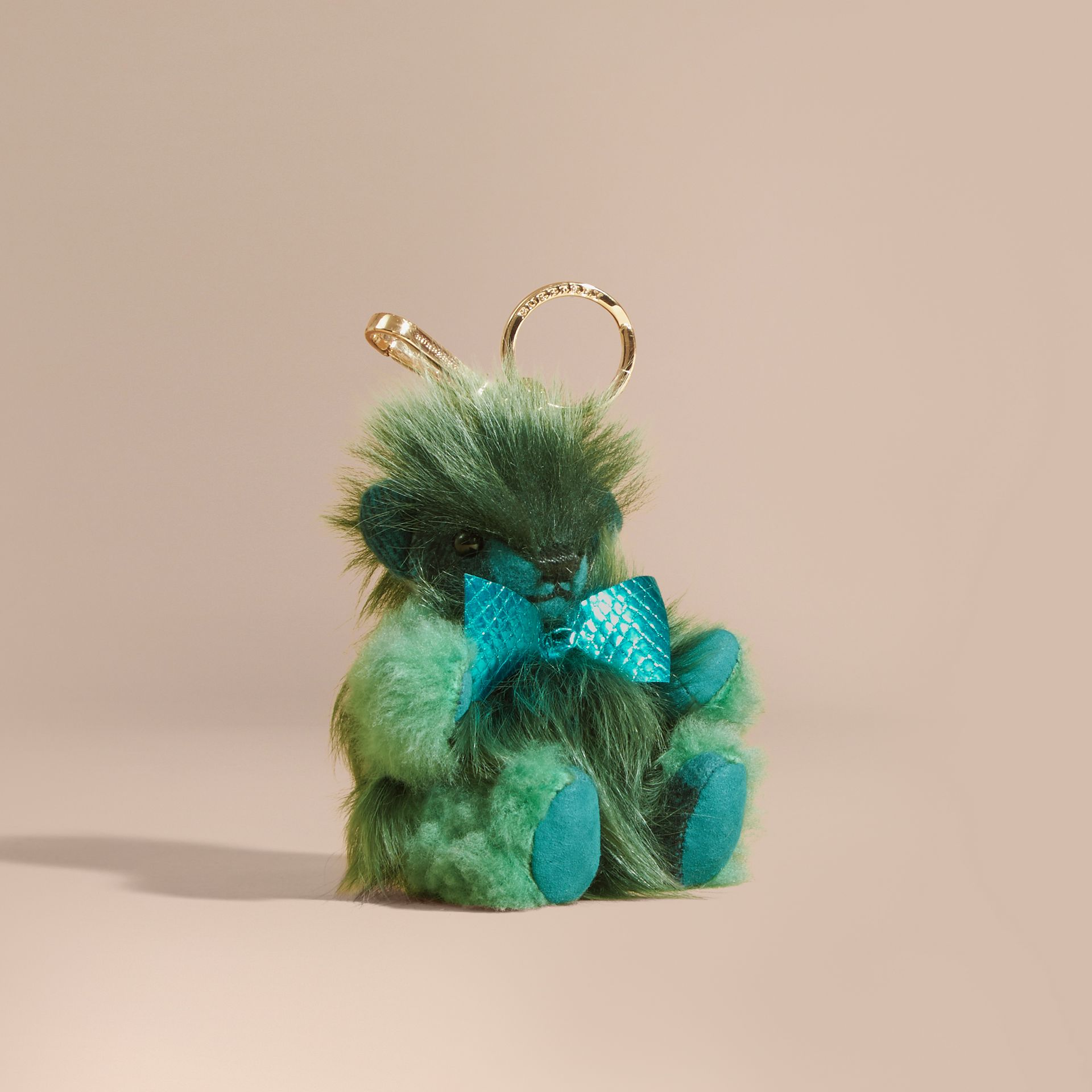 Thomas Bear Pom-Pom Charm in Check Cashmere in Dark Aqua - Women | Burberry - gallery image 1