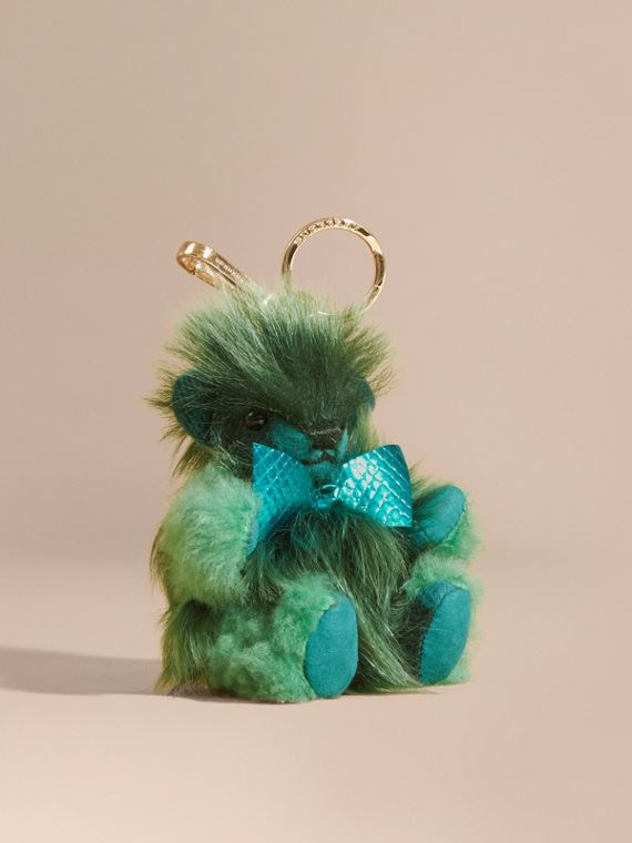 Thomas Bear Pom-Pom Charm in Check Cashmere Dark Aqua
