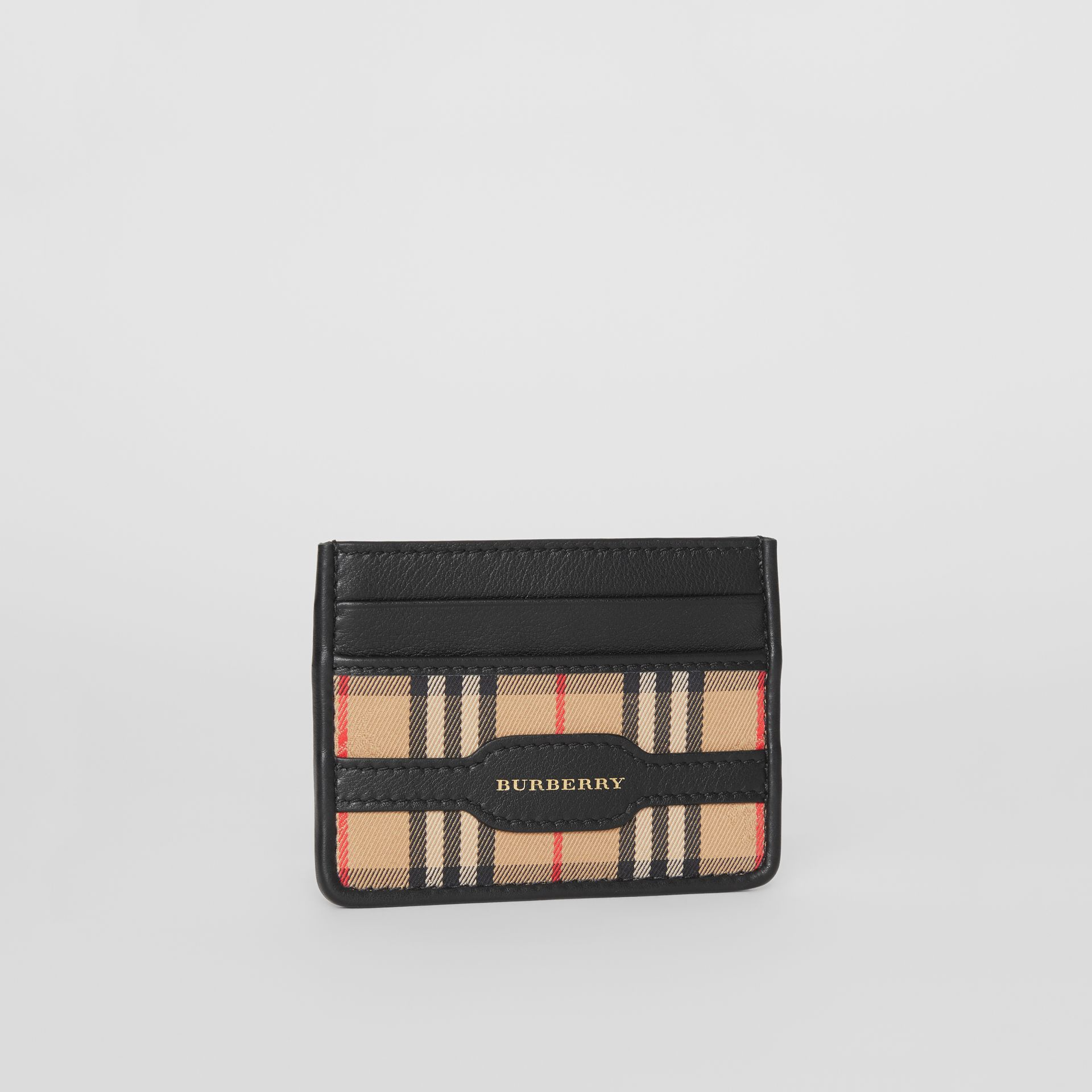 1983 Check and Leather Card Case in Black - Men | Burberry - gallery image 3